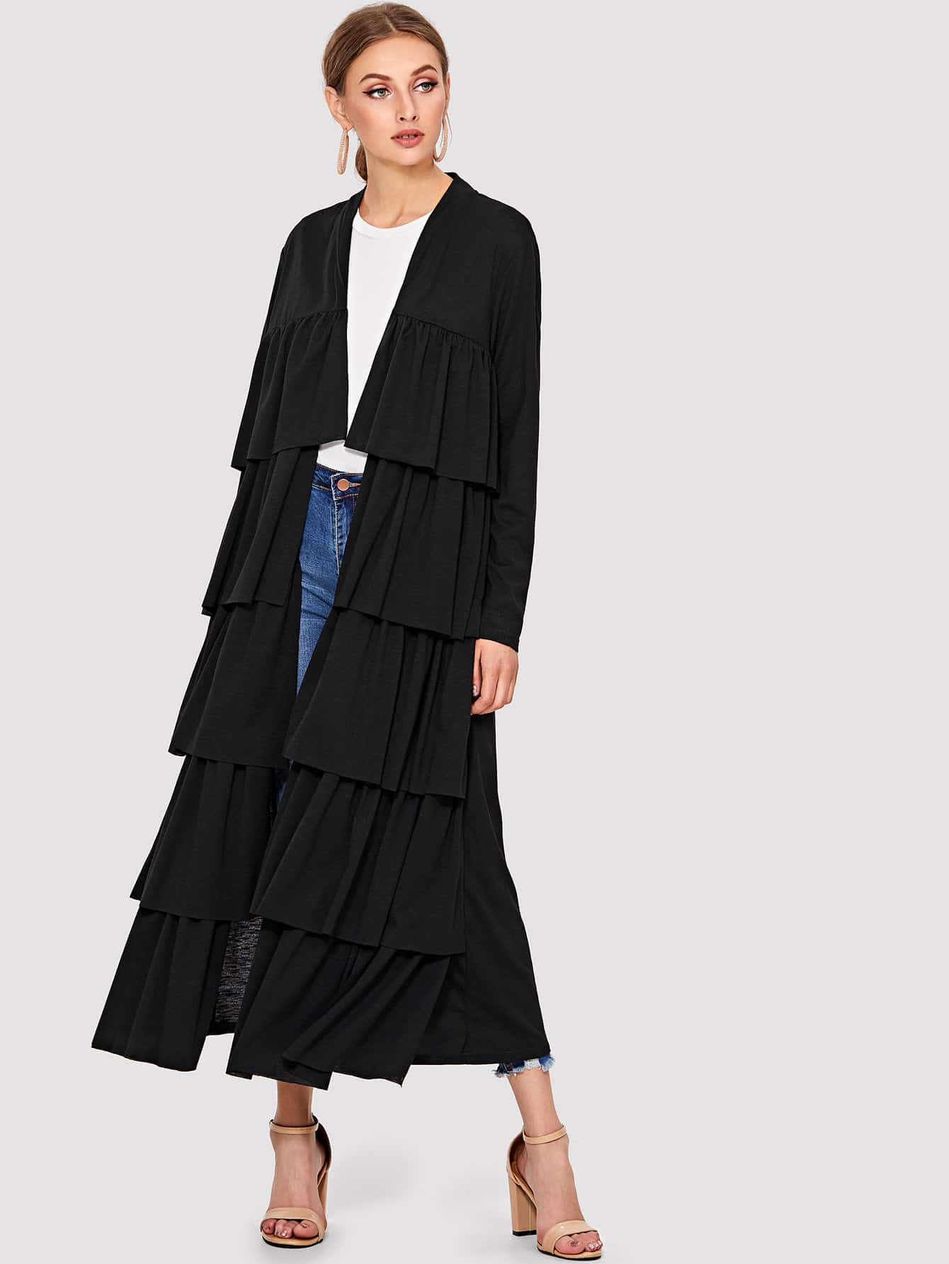 Tiered Ruffle Solid Abaya tiered layer ruffle jacket