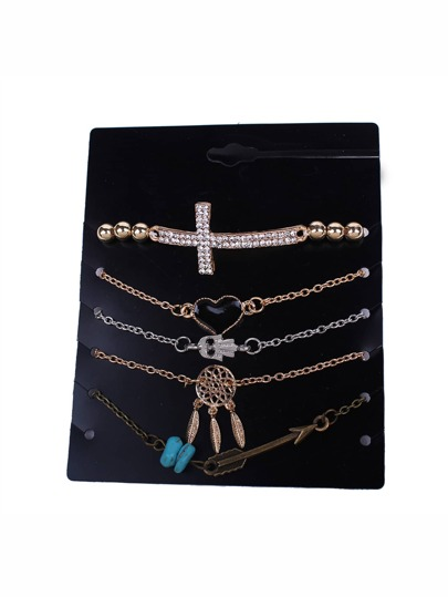 Rhinestone Cross Chain Bracelet 5pcs