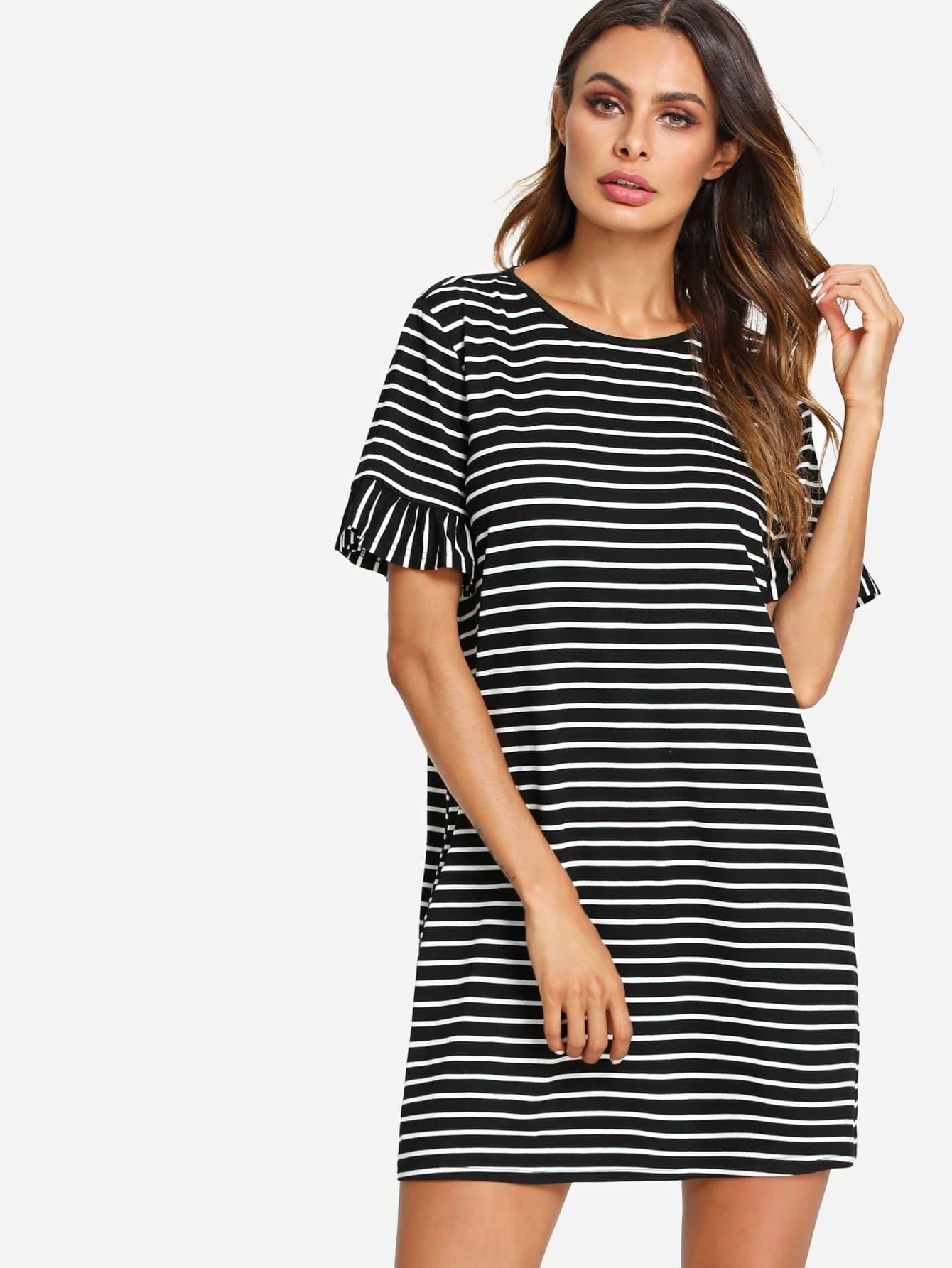 Flounce Sleeve Striped Tunic Dress flounce sleeve striped denim dress