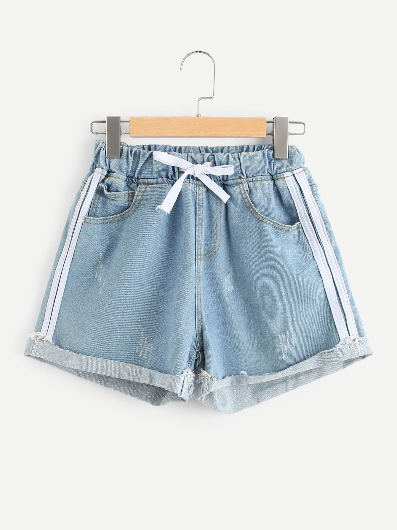 Drawstring Waist Roll Up Hem Denim Shorts цена 2017