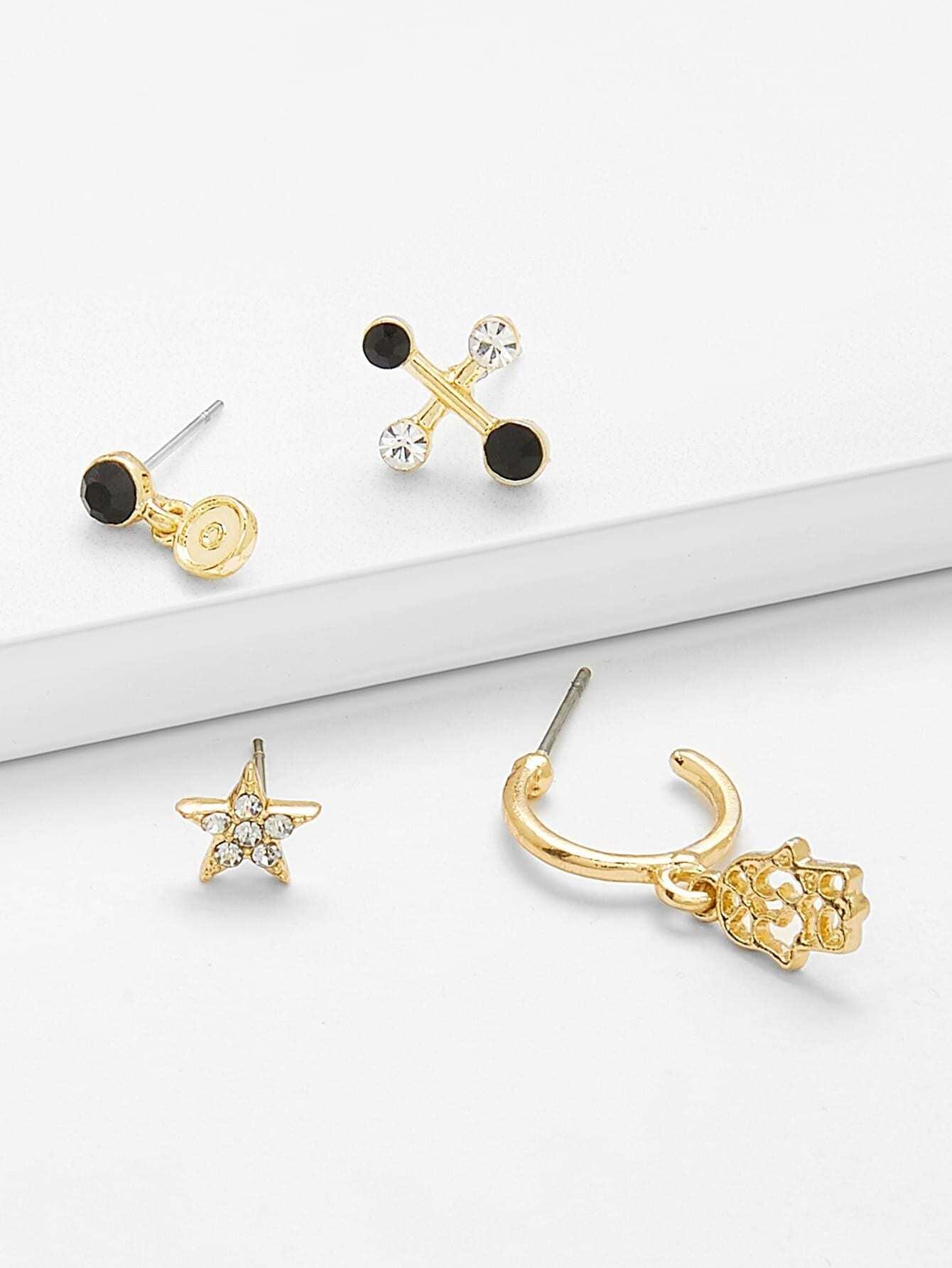 Купить Комплект серьги для дизайна и дизайна для Palm & Star, null, SheIn