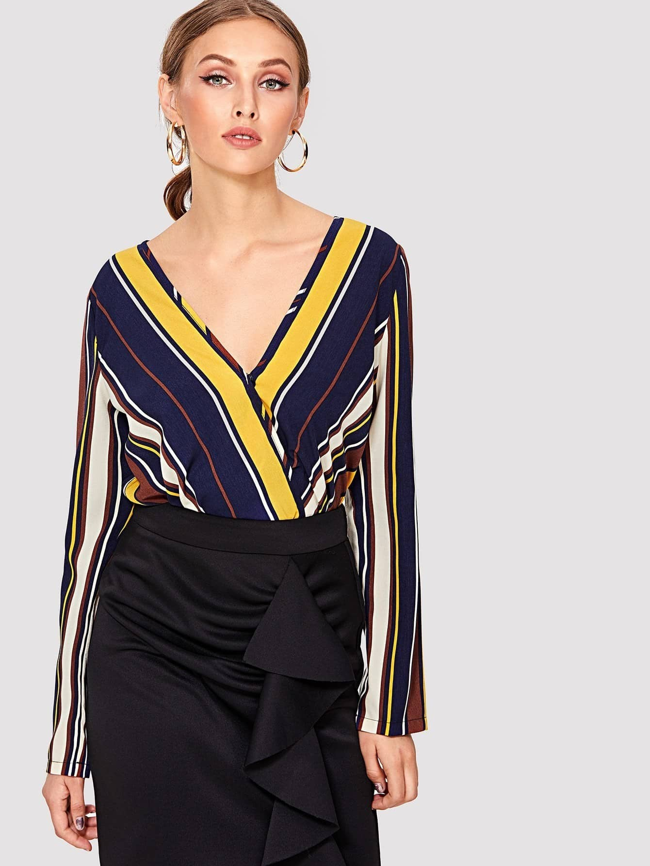 цены Striped Surplice Wrap Blouse Bodysuit