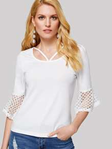 Strappy Front Cut Out Flounce Sleeve Tee