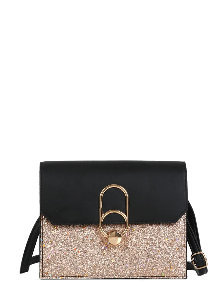 Two Tone Glitter Crossbody Bag drop crotch loose two tone pants