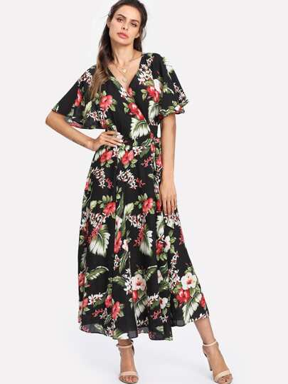Random Florals Knot Detail Wrap Dress
