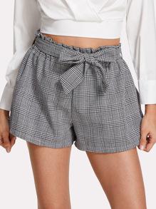 Belted Glen Plaid Shorts