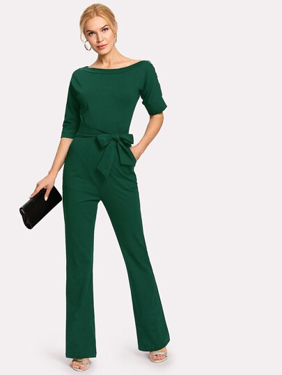 Button Detail Self Tie Jumpsuit