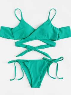 Crisscross Front Knot Detail Bikini Set