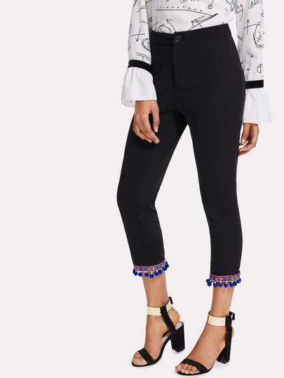 Embroidered Tape Detail Pom Pom Hem Pants