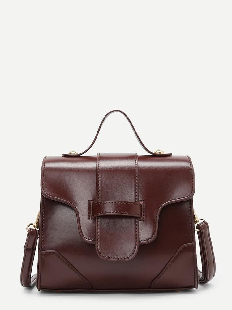 PU Flap Grab Bag buckle detail flap grab bag