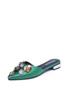 Flower Embellished Pointed Toe Sandals