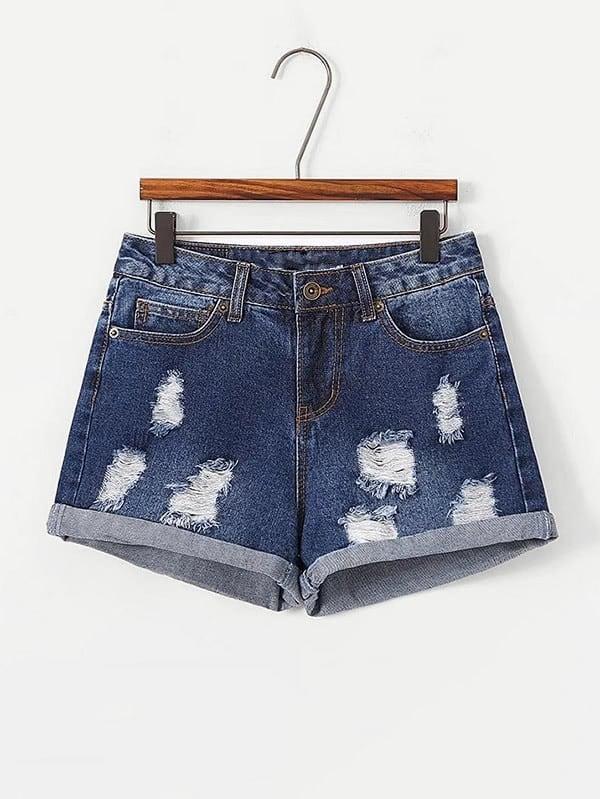Ripped Cuffed Denim Shorts frill trim cuffed denim shorts