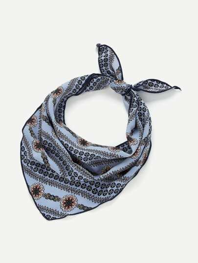 Flower & Chain Print Twilly Scarf