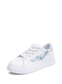 Floral Embroidered Lace Up Sneakers
