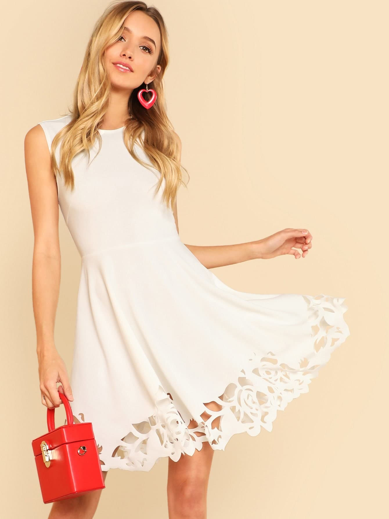Cut Out Detail Fit And Flared Sleeveless Dress cut out detail fit and flared sleeveless dress