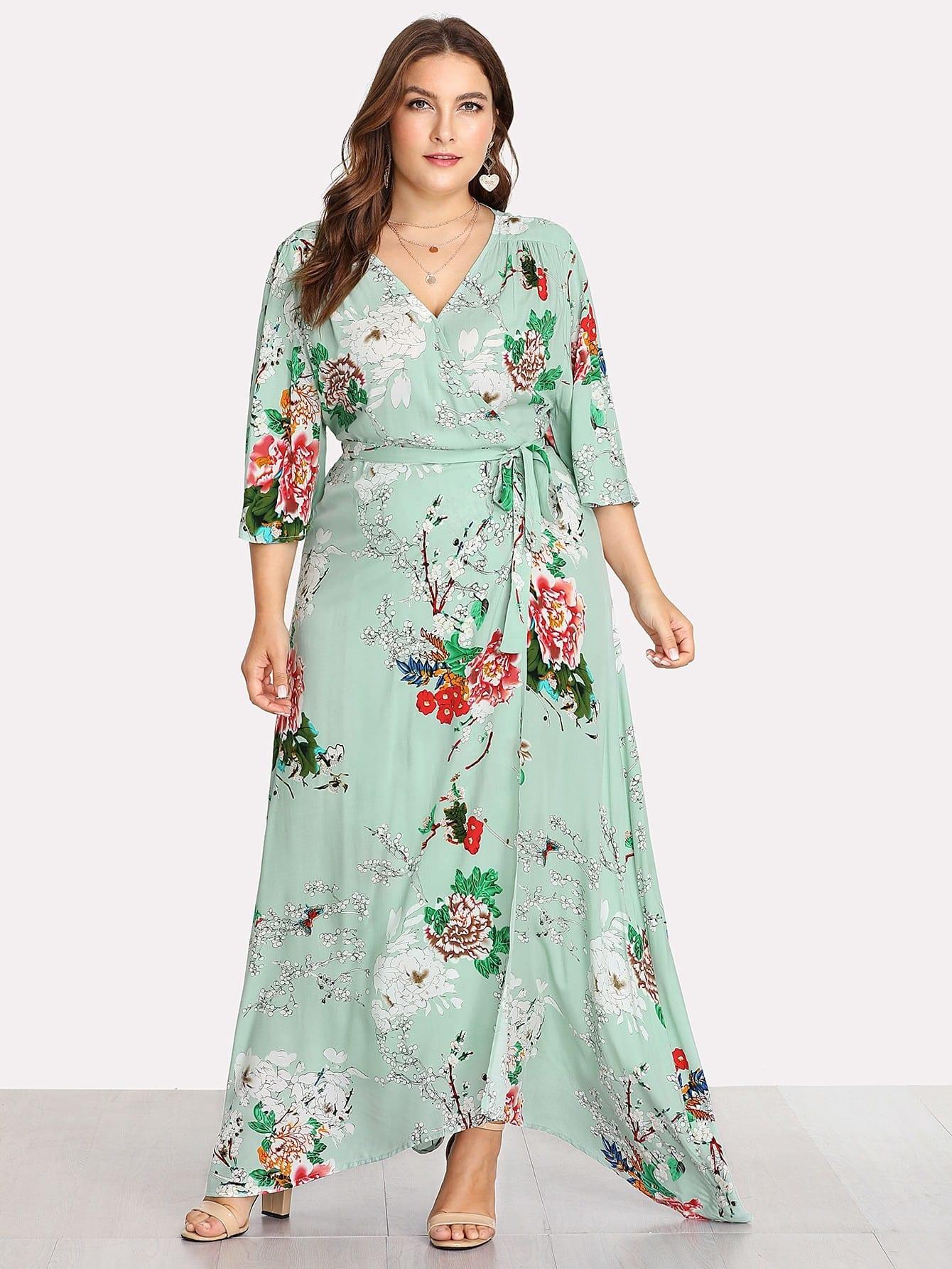 Kimono Sleeve Surplice Wrap Botanical Dress notch collar lantern sleeve wrap botanical dress