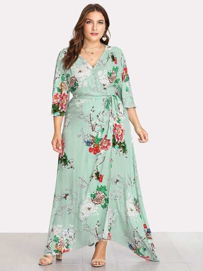 Kimono Sleeve Surplice Wrap Botanical Dress