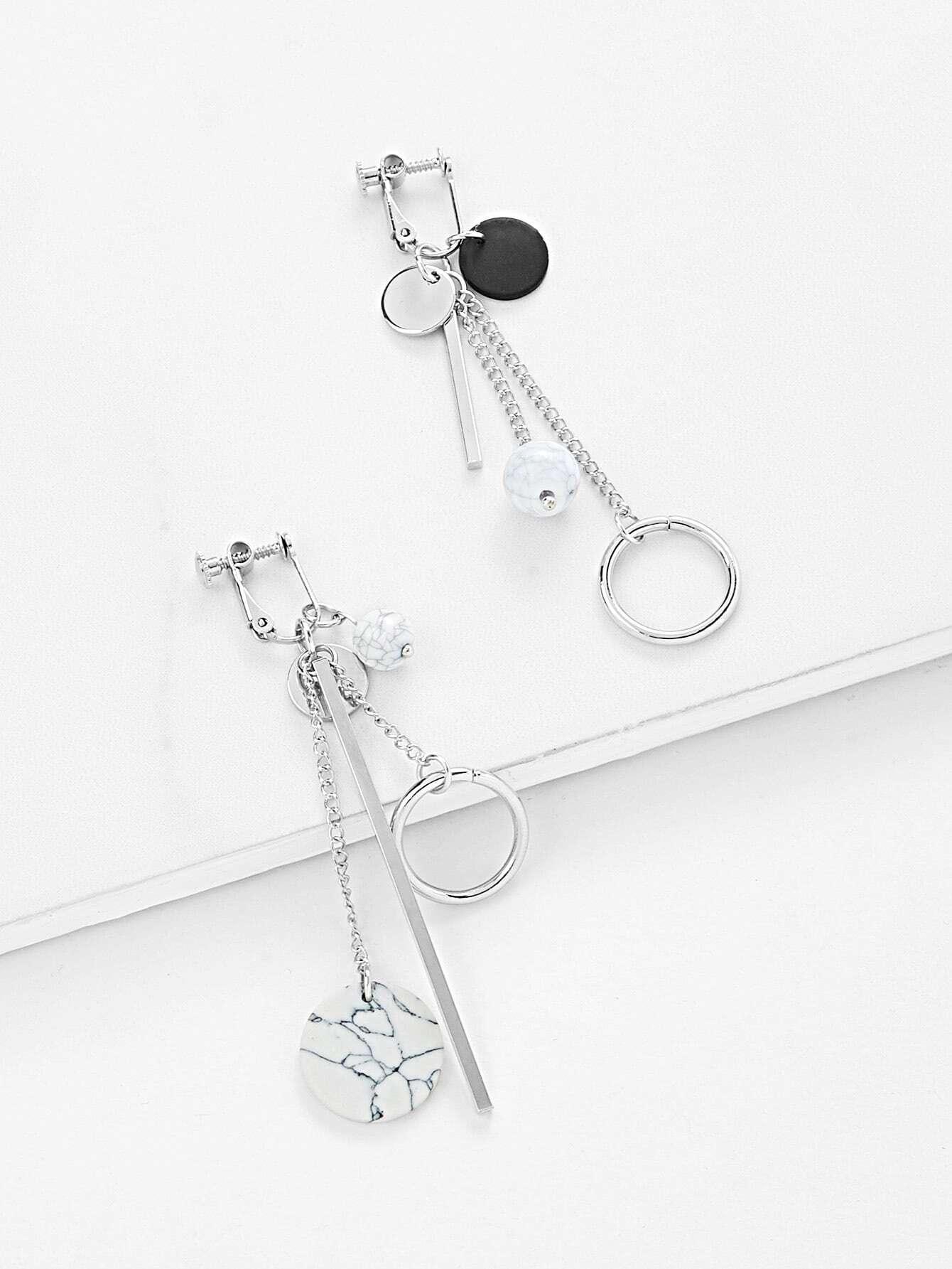 Circle And Bar Drop Asymmetrical Earrings silver plated bar dangle drop earrings