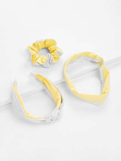 Two Tone Headband & Hair Tie 3Pcs