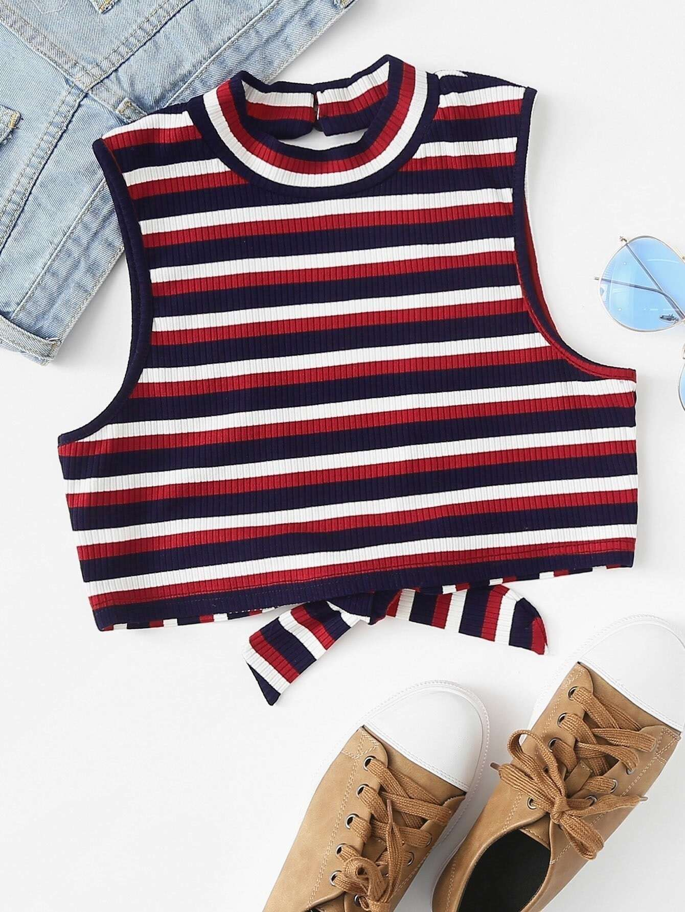 Mock Neck Striped Crop Shell Вверх
