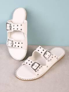 Studded Buckled Strap Slide Sandal with Metallic Trim Detail WHITE
