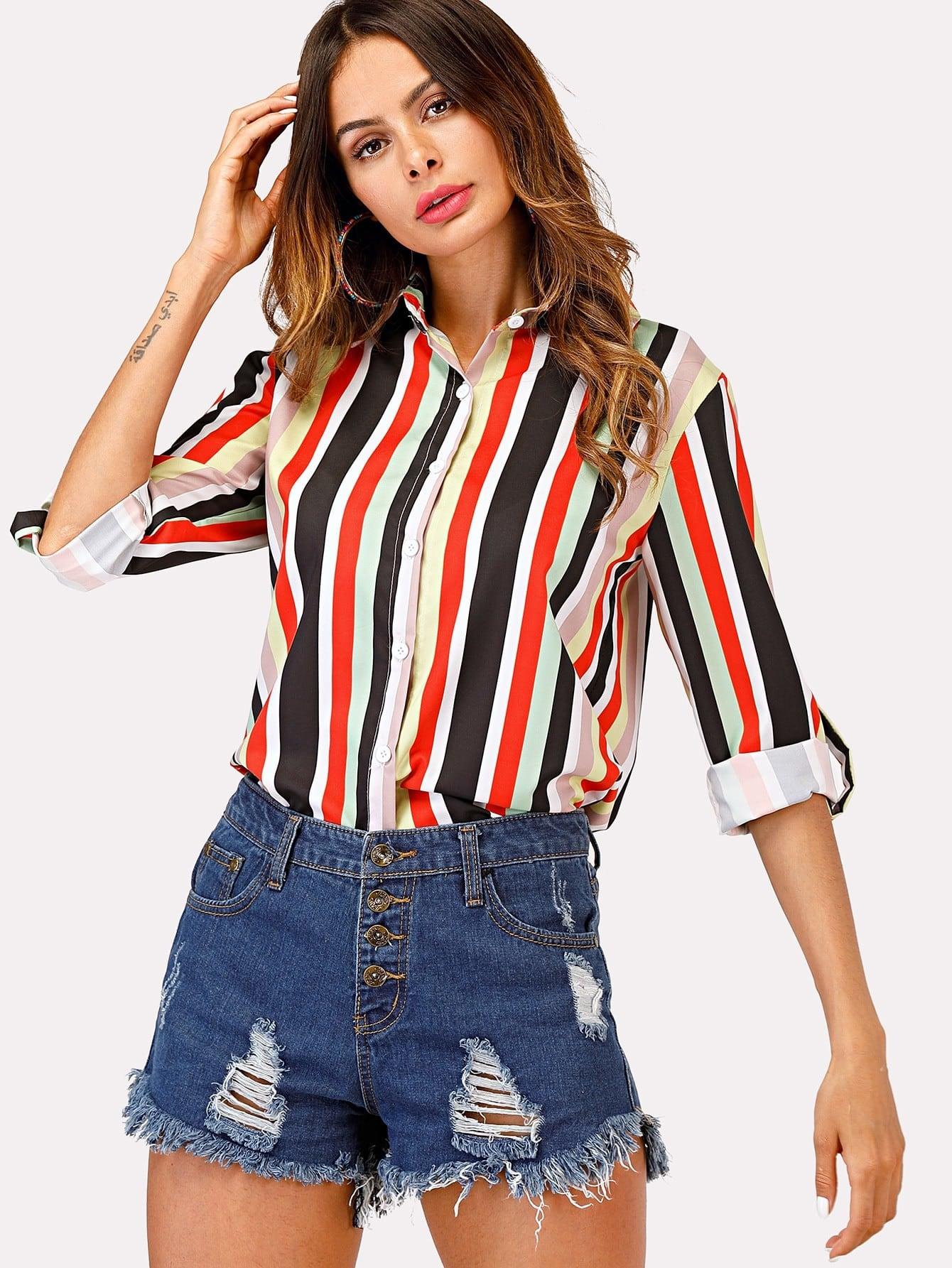 Multi Stripe Rolled Sleeve Shirt multi stripe t shirt