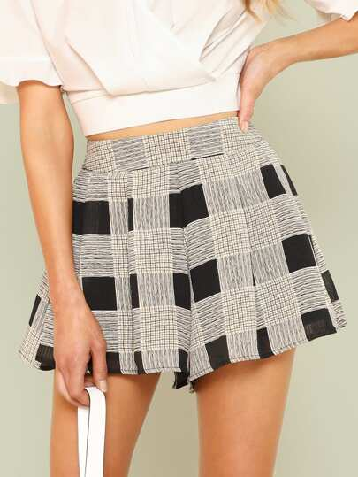 Scribble Checked Flowy Shorts YELLOW