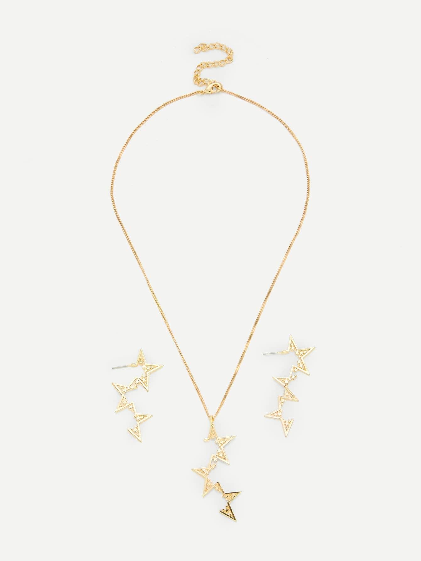 Star Pendant Necklace & Drop Earring Set er 3789 stylish retro jewelled pendant earring navy blue 2 pcs