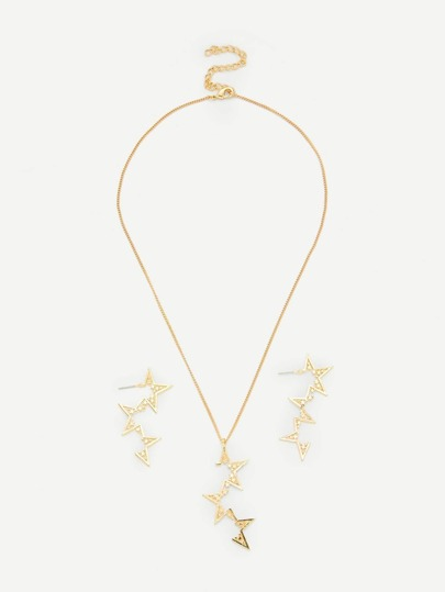 Star Pendant Necklace & Drop Earring Set