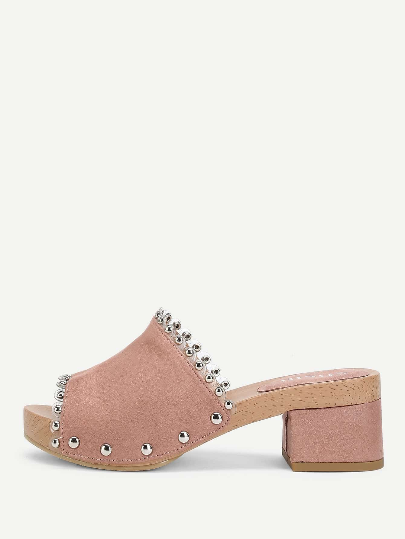 Studded Design Block Heeled Pumps цена