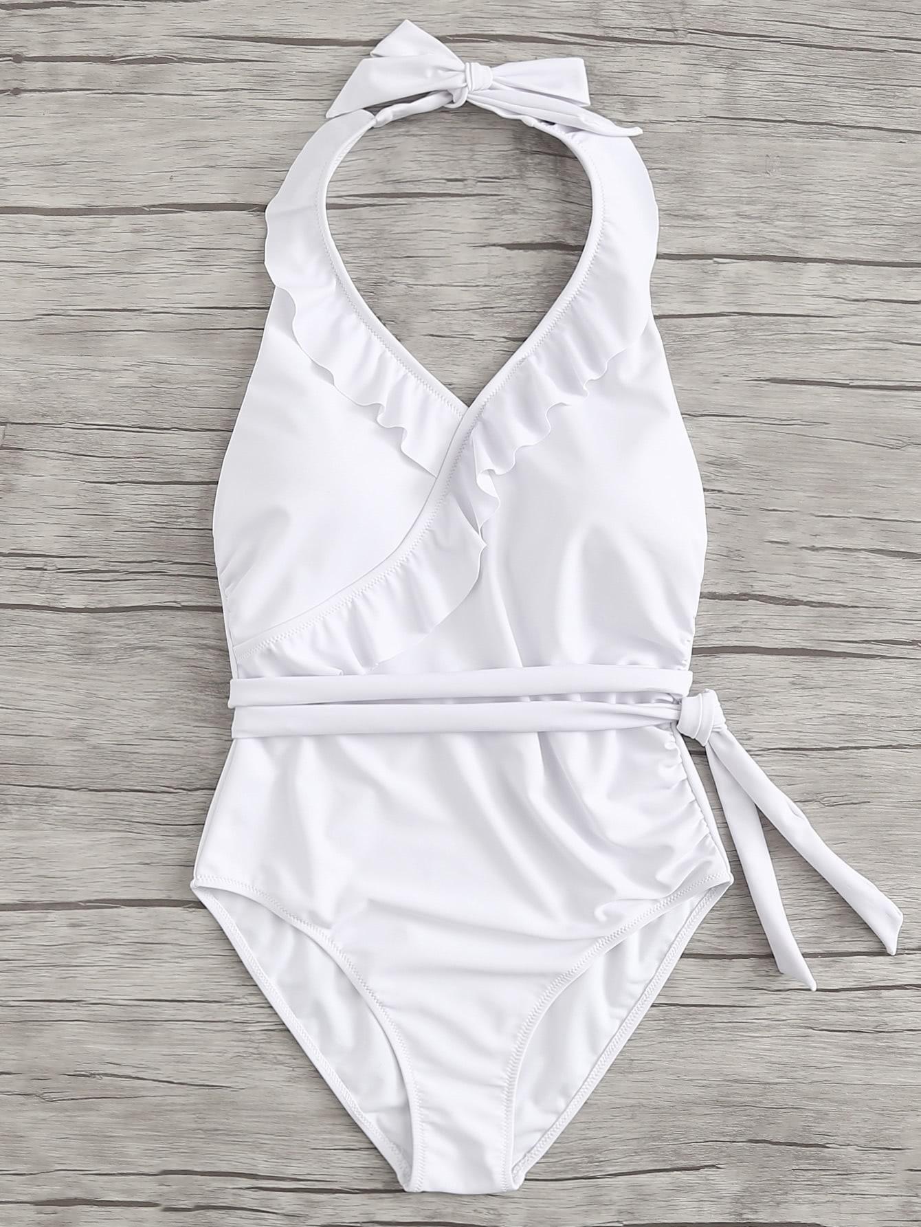 Open Back Knot Side Ruffle Trim Swimsuit wrap knot swimsuit