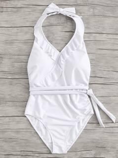 Open Back Knot Side Ruffle Trim Swimsuit