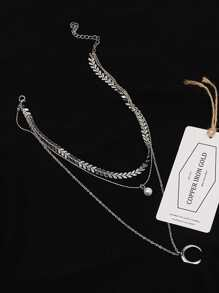 Moon & Faux Pearl Pendant Layered Chain Necklace