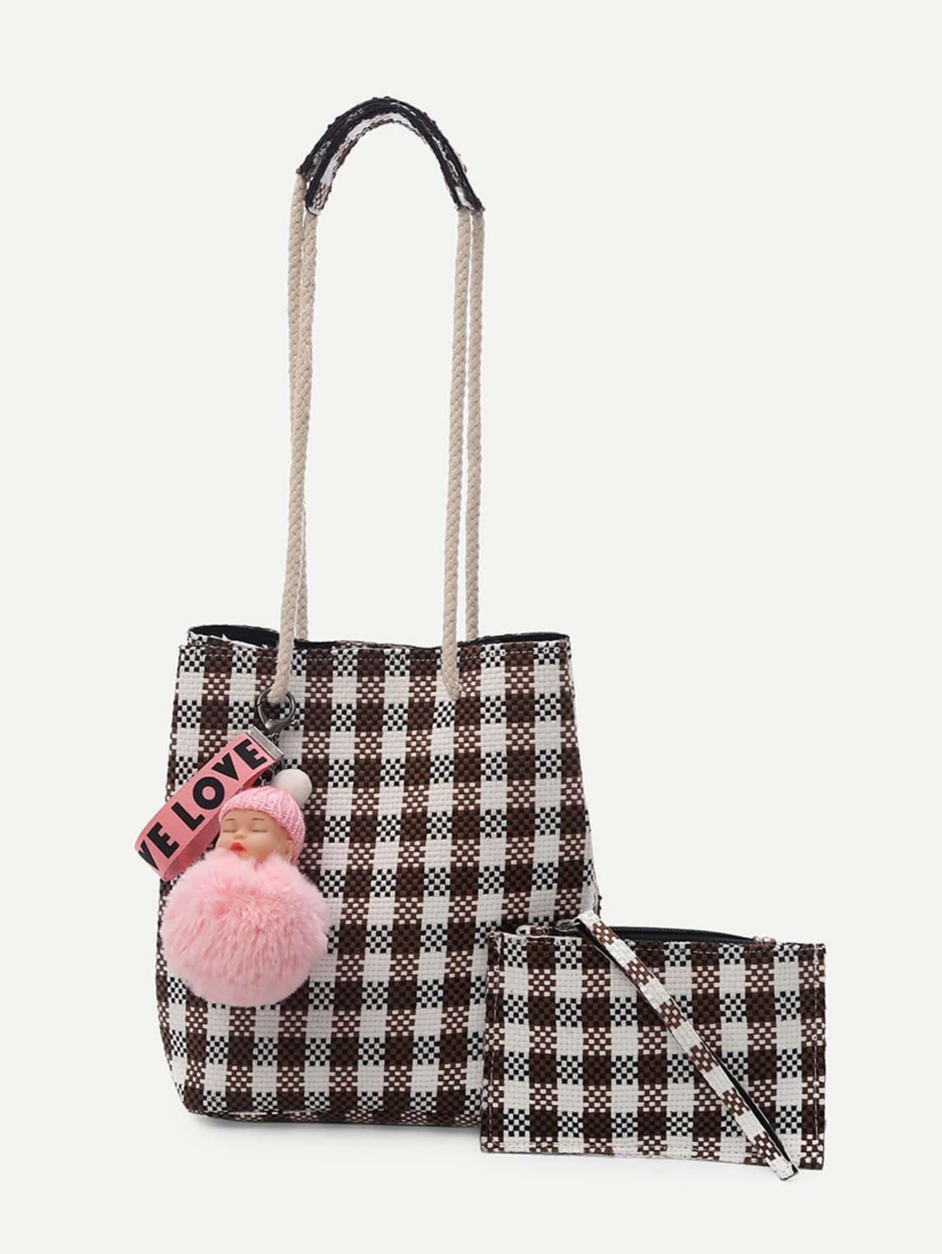Charm Detail Gingham Shoulder Bag With Clutch patch detail combination bag with clutch bag
