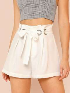Paper Bag Waist Shorts with O-Ring Belt WHITE