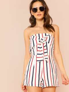 Striped Strapless Romper with Front Tie Ribbon Detail WHITE