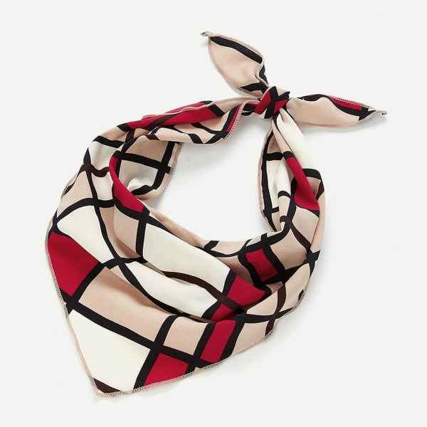 Color Block Twilly Scarf, Multicolor