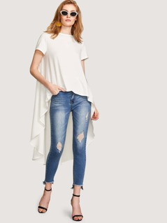 High Low Solid Tee
