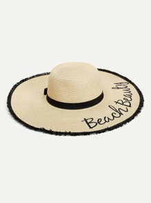 Fringe Trim Straw Floppy Hat