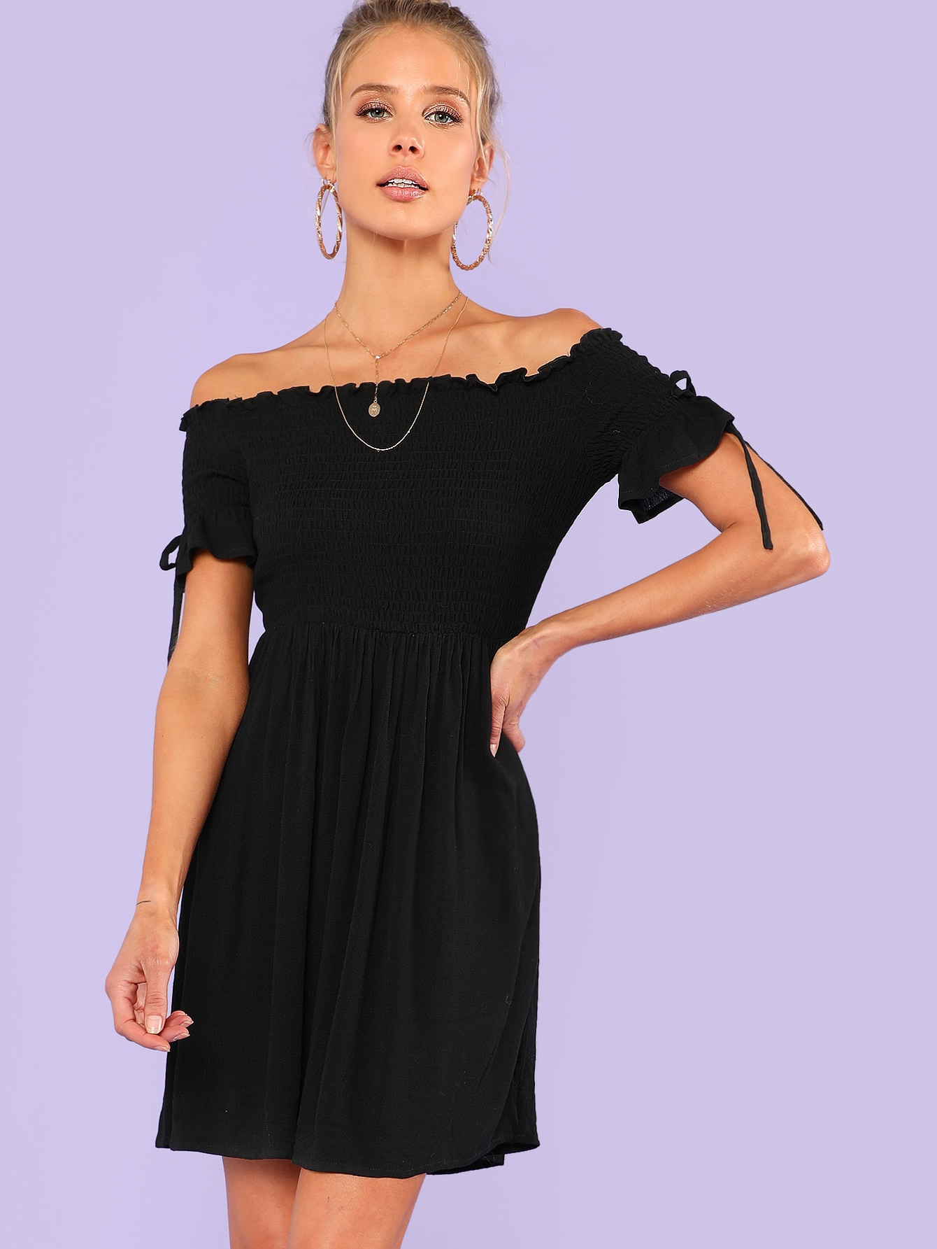 Bow Tie Detail Shirred Bodice Frilled Dress bow detail longline dress