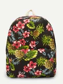 Flower & Pineapple Print Backpack