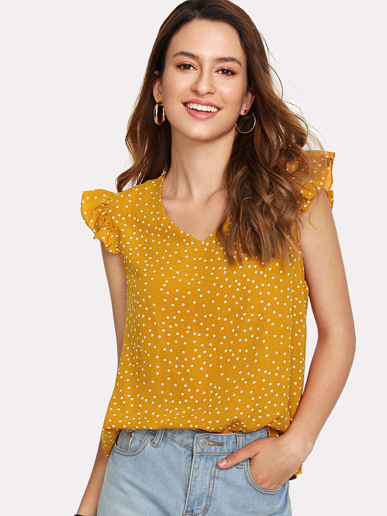 Ruffle Armhole Tie Back Polka Dot Top ruffle armhole tie back polka dot top