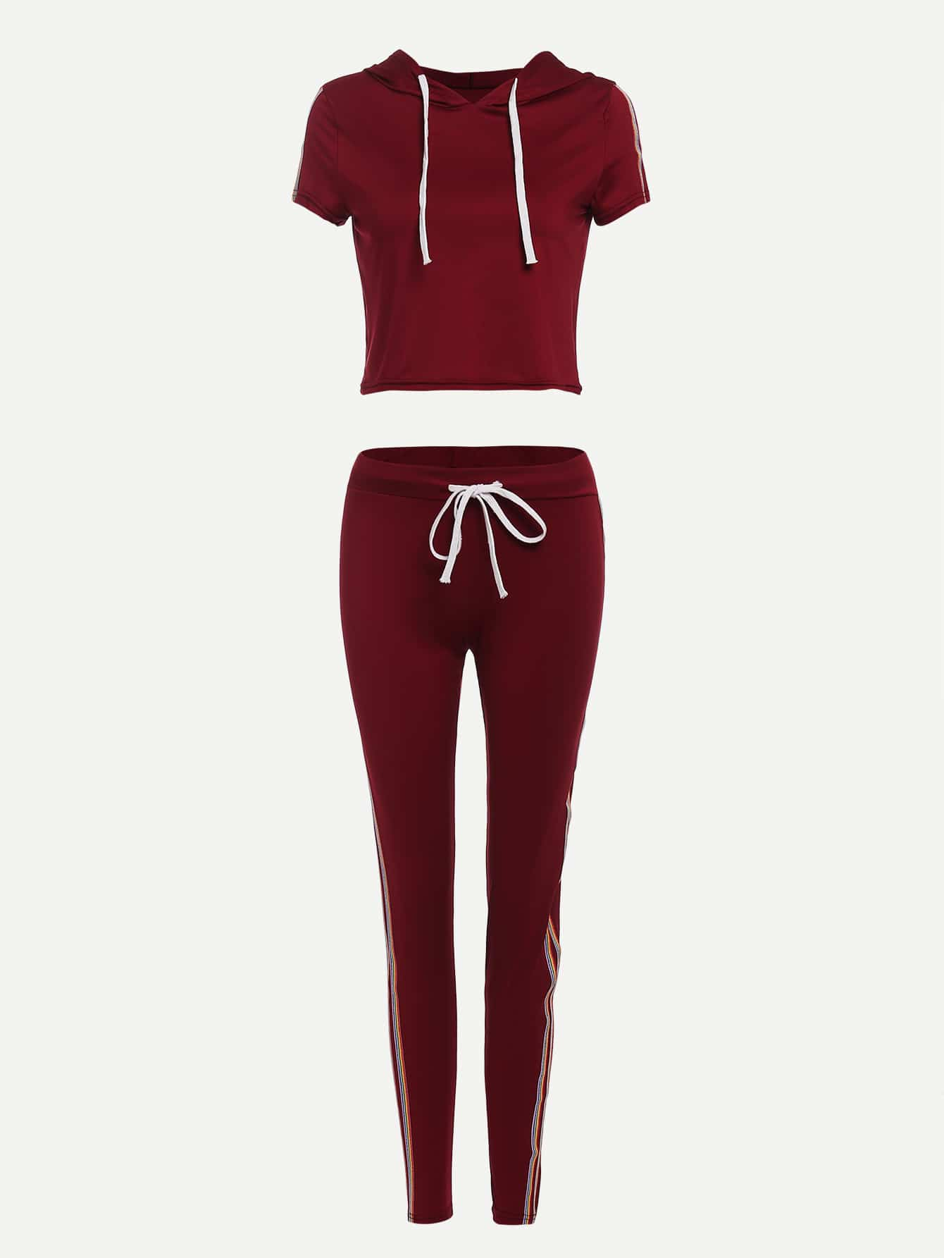 Striped Tape Side Drawstring Top With Pants
