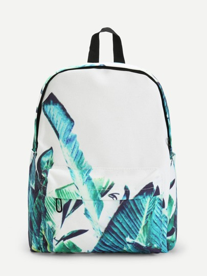 Tropical Print Pocket Front Backpack