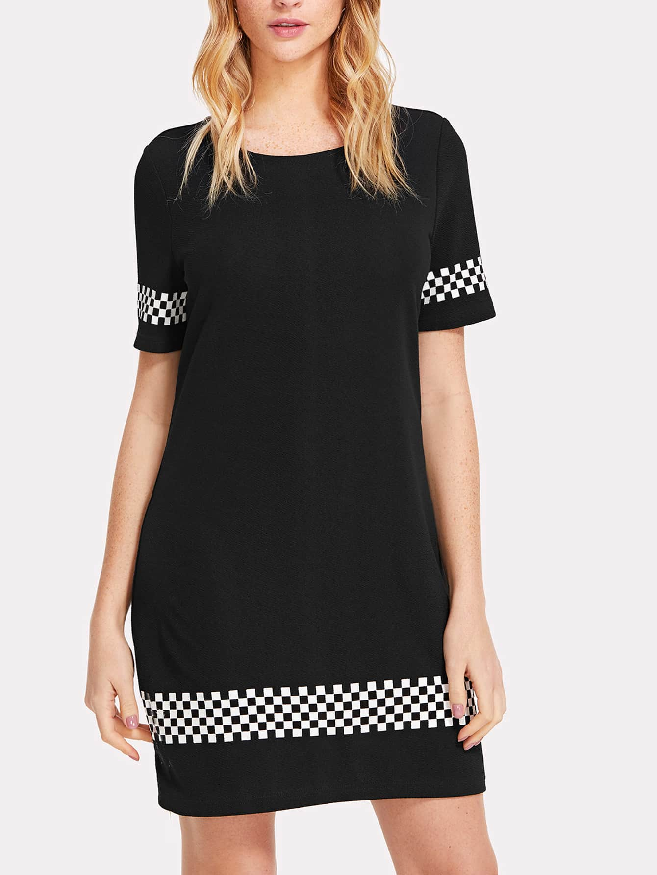 Plaid Panel Tee Dress zip back fit and flared plaid dress