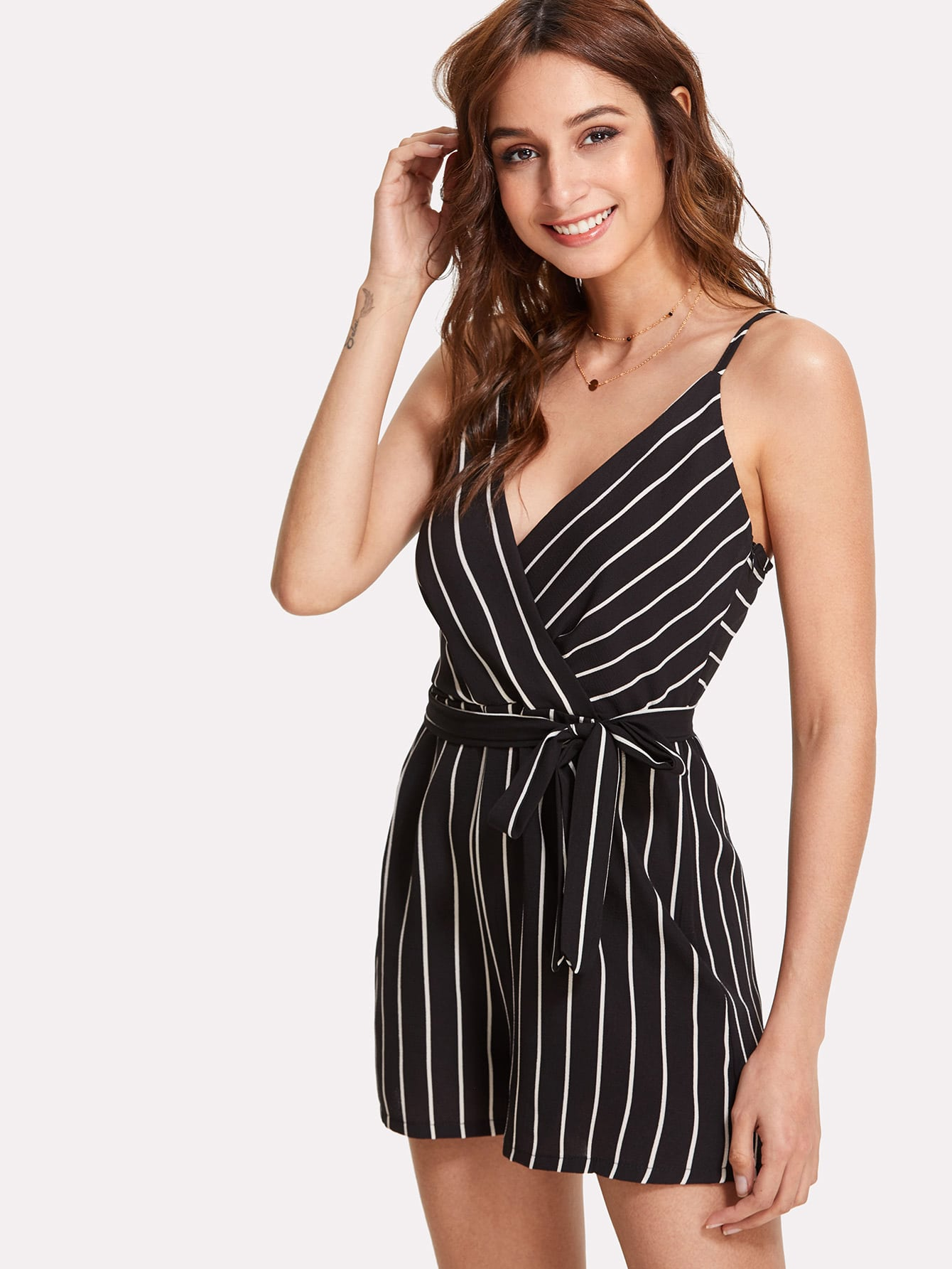 Vertical Striped Belted Surplice Romper