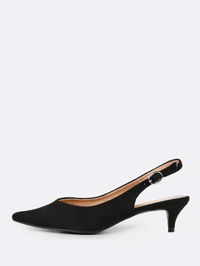 Faux Suede Pointy Toe Sling Back Pump BLACK
