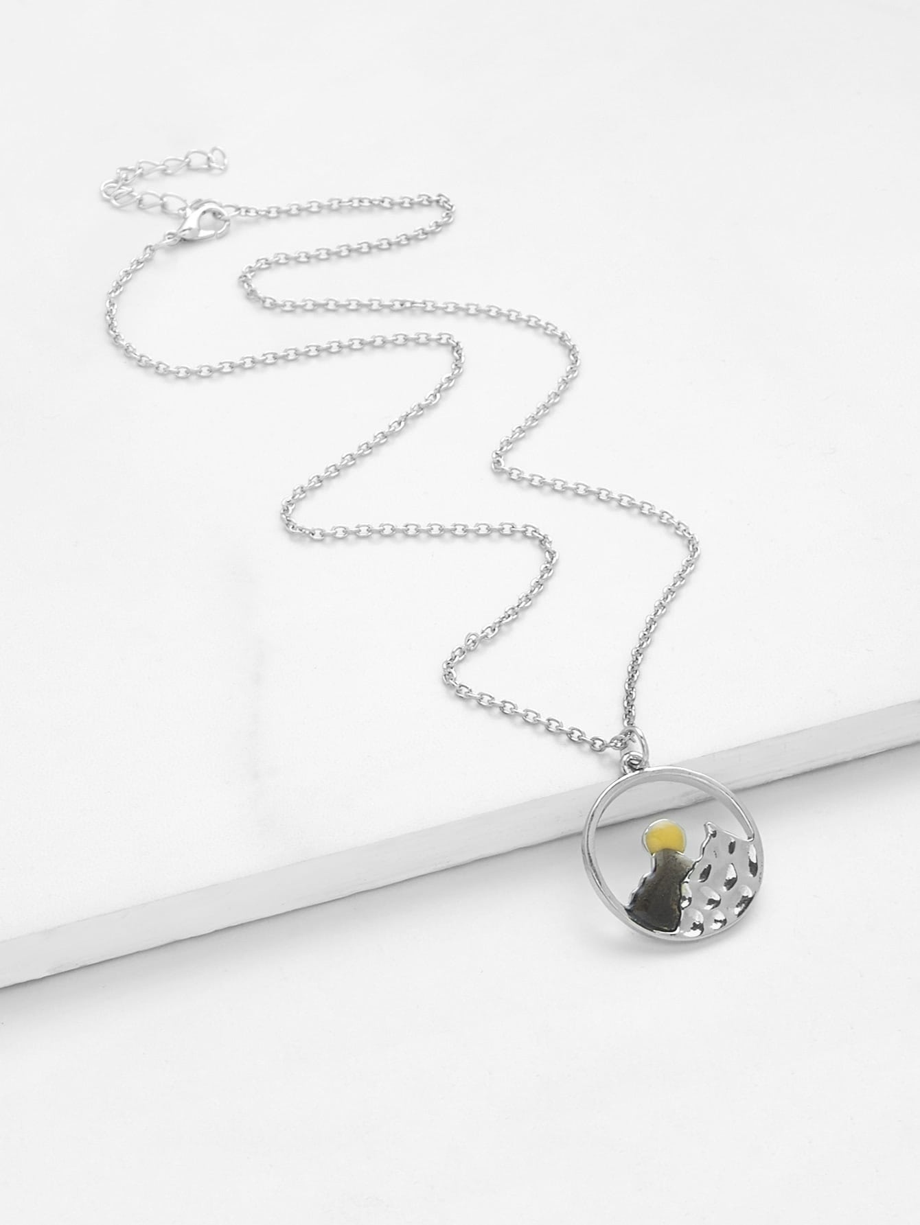 Round Pendant Chain Necklace round drop chain necklace