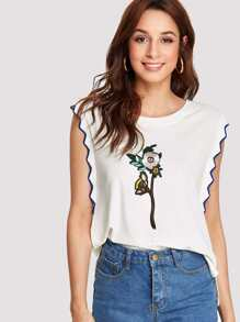 Flower Embroidered Chevron Trim Muscle Tee