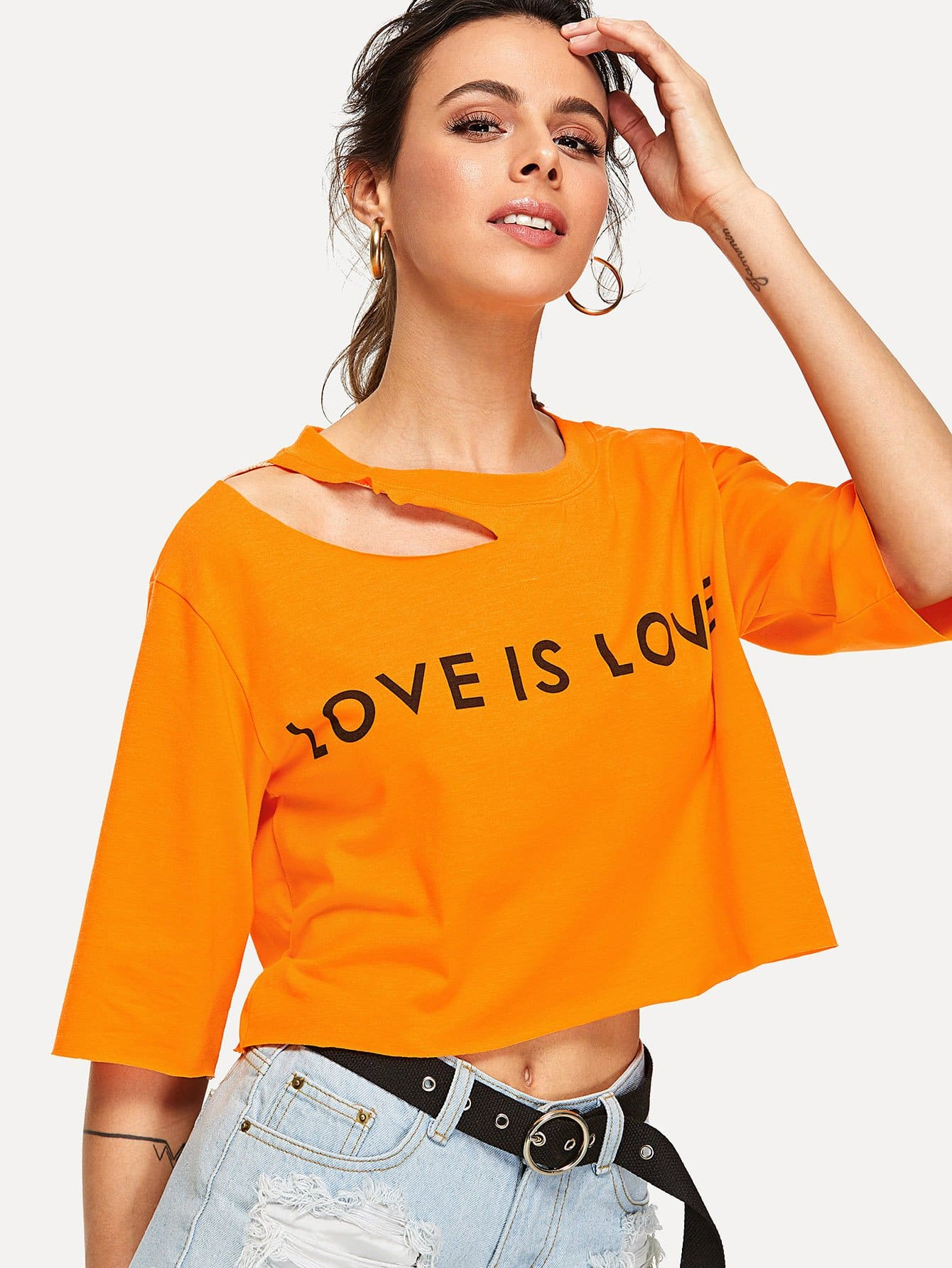 Letter Print Asymmetric Cutout Neck T-shirt tree print asymmetric two tone t shirt